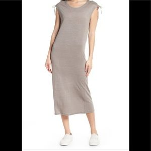 CAARA Lace-up Shoulder Jersey Midi Dress NWT Grey Size Small